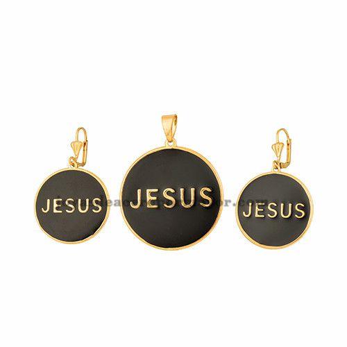 """dije y aretes de nombre """"jesus""""negro en cobre dorado -BRSTG96023"""