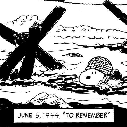 """Snoopy commemorates D-Day,  In June 1993, Schulz began commemorating the D-Day anniversary in the Peanuts comic strip by imploring his readers """"to remember"""" the date in history that had made such a huge impact in liberating Europe from the Axis powers. During the initial planning stages for the National D-Day Memorial located in Bedford, Virginia, Schulz donated a significant amount to the cause and chaired a fund raising committee to show his commitment to building the monument."""