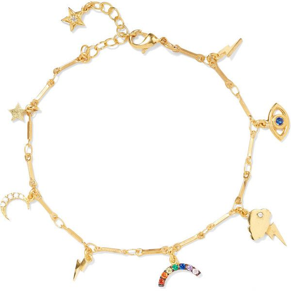 IAM by Ileana Makri All Weather gold-plated charm bracelet ($305) ❤ liked on Polyvore featuring jewelry, bracelets, gold, star charms, gold plated bangles, charm bracelet jewelry, star charm bracelet and lightning bolt jewelry
