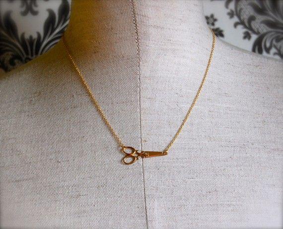 The Tiny Brass Scissors Necklace by verabel on Etsy