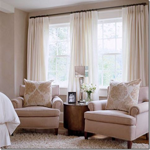 Window treatment idea for 2 windows close together 2 sets for Living room window treatments