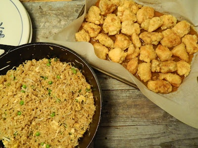 Baked Sweet and Sour Chicken with Fried Rice.