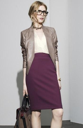 Leather jacket + purple pencil skirt