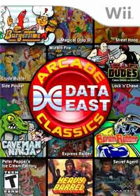 Data East Arcade Classics (R26E5G) NTSC WII - WBF    Players   can now enjoy some of the best shooter, sports, puzzle and twitch   action video games ever created in one convenient package. Data East   Arcade Classics features 15 nostalgic titles, including: BurgerTime and   its sequel, Peter Pepper's Ice Cream Factory, Bad Dudes vs. Dragon   Ninja, Burnin' Rubber, Heavy Barrel, Caveman Ninja, Magical Drop III,   Side Pocket and many more.Classic Videos Games, Classic Wii, East Arcade, Data East, Classic 2497, 80S Arcade, Video Games, Dragons Ninjas, Arcade Classic