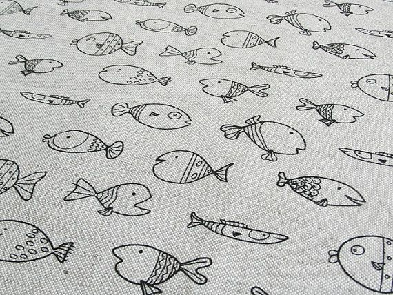 Linen fish fabric 1 2 yard fish fabric prints quilted for Fish pattern fabric