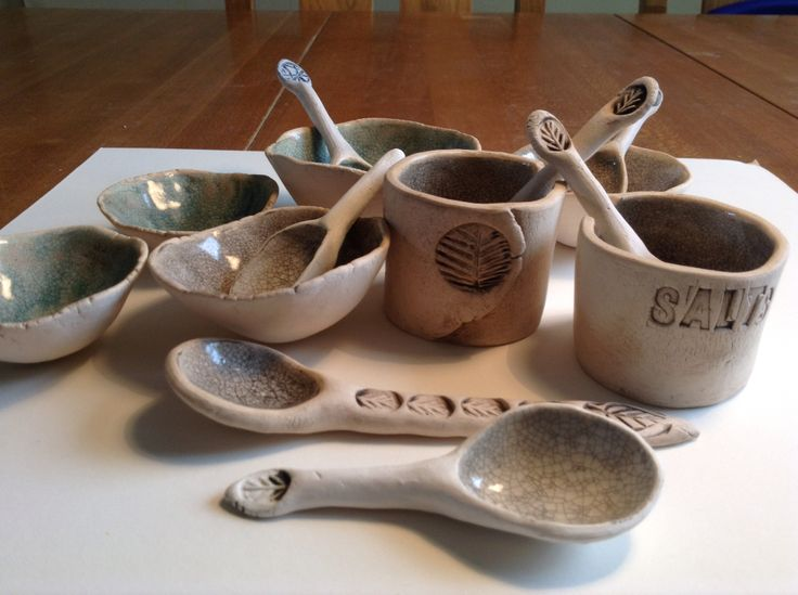 Handmade spoons and salt pots. Earthenware clay, oxides and crackle glaze.  Gail de Jong