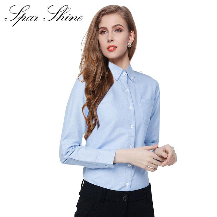 SPARSHINE Women Solid Cotton Oxford Blouse Long Sleeve Shirt Plus Size Female Blusas Turn Down Collar Shirts Camisas De Mulher #Affiliate