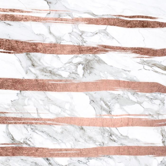 Modern Chic Faux Rose Gold Brush Stripes White Marble Art