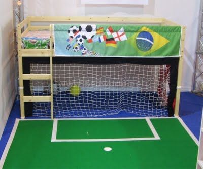 Soccer room I think I might use this net idea in Kaden's room =)