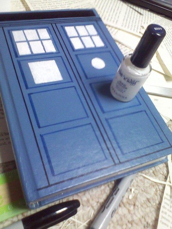How to make desk storage idea. Tardis Hidden Book Box - Step 7