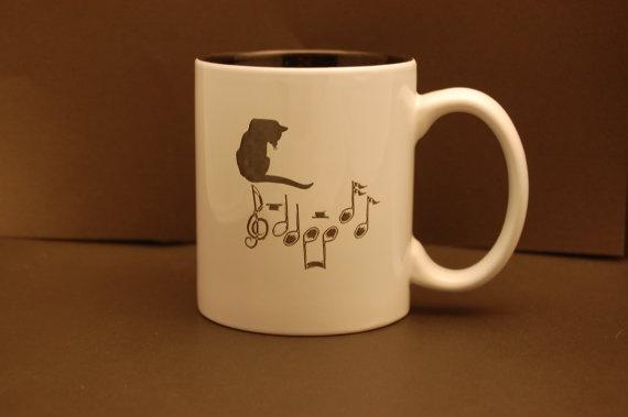Musical Cat Ceramic Mug by MainelyEngraving on Etsy, $8.75
