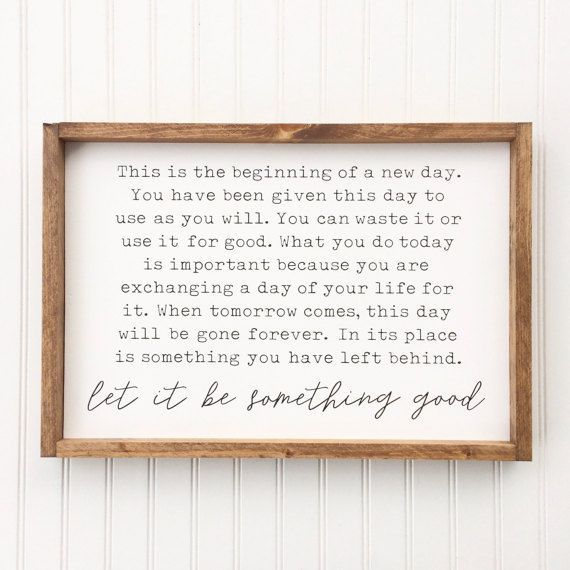 Let It Be Something Good Framed Wood Sign Inspirational Quote Wall Hanging Custom Home Decor Motivational Typography Art Homedecorquote Wood Frame Sign