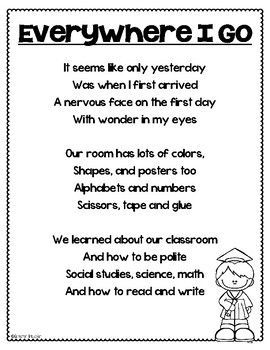 Kindergarten Graduation End of the Year Poem... by Cameron