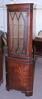 Small Curved Crotch Mahogany Corner Cabinet China Display