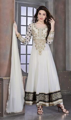 White Georgette Salwar Kameez Online ,Indian Dresses - 1