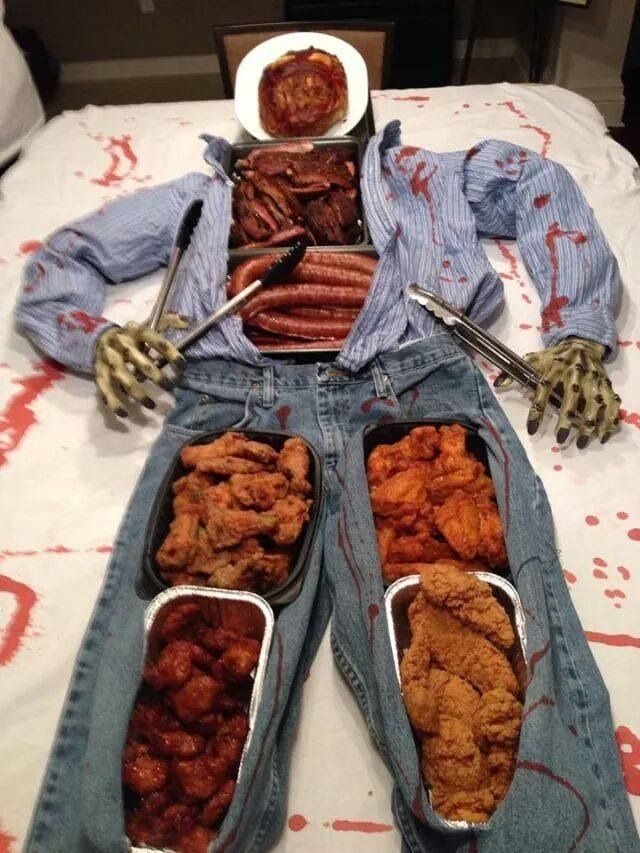 #Halloween buffet. Hungry for some meat? Interesting idea.  Yes you could offer #organic meat choices for your guests. #diyhalloweendecorations