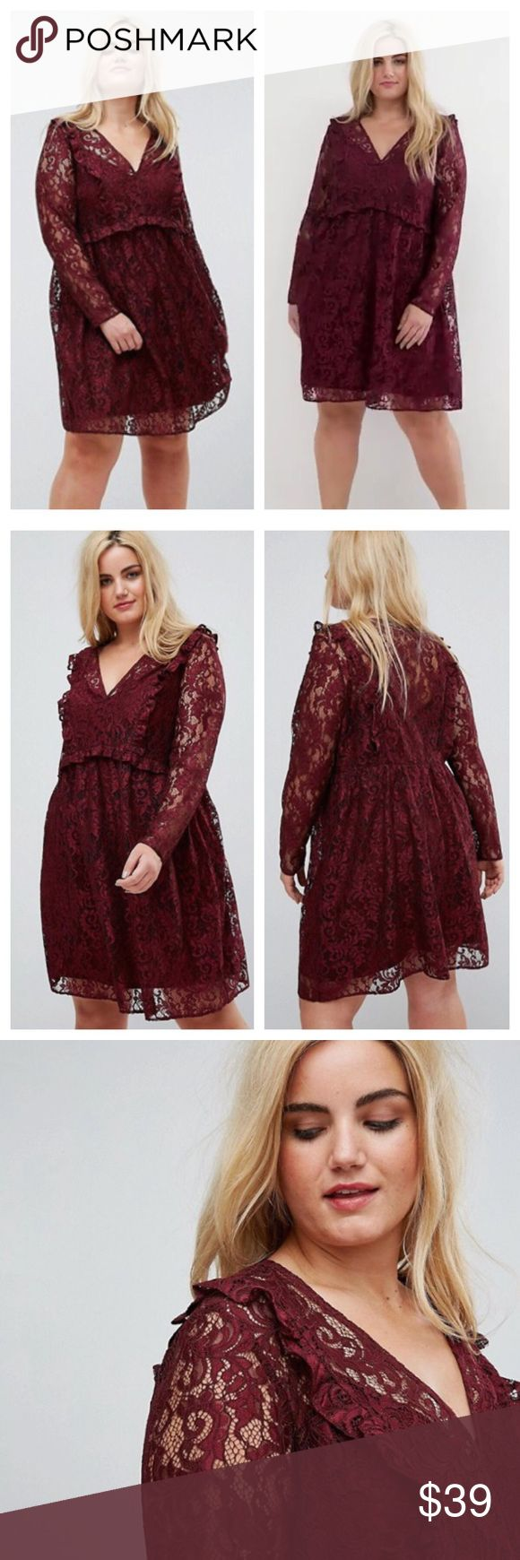 "NWT ASOS Curve Lace Smock Mini Dress W/ Ruffles 18 NWT ASOS Curve Lace Smock Mini Dress W/ Ruffles Oxblood Burgundy  Sz 18 Plus size Includes a slip dress in coordinating color (not attached). Slip dress has adjustable spaghetti straps.  V neck Long sleeves Smock style Ruffles Relaxed shape Measured flat  22.5"" bust  15"" shoulders  18.5"" sleeve inseam  20"" waist 29"" hips  36"" length ASOS Curve Dresses"