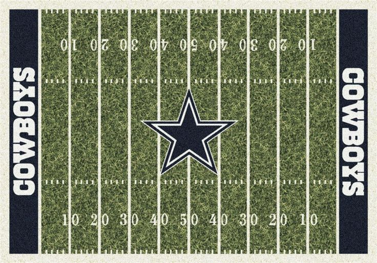 Dallas Cowboys Football Field Rug. This Milliken Cowboys rug features a detailed football field layout complete with yard lines as well as the Dallas team name in the end zones. The Dallas mascot is right in the center of the action at midfield. These rugs are made to order in the U.S.A and are made of 100% Nylon Pile Fiber to with stand even the heaviest foot traffic. Show just how much you support your Cowboys team with this area rug! Go Cowboys!!