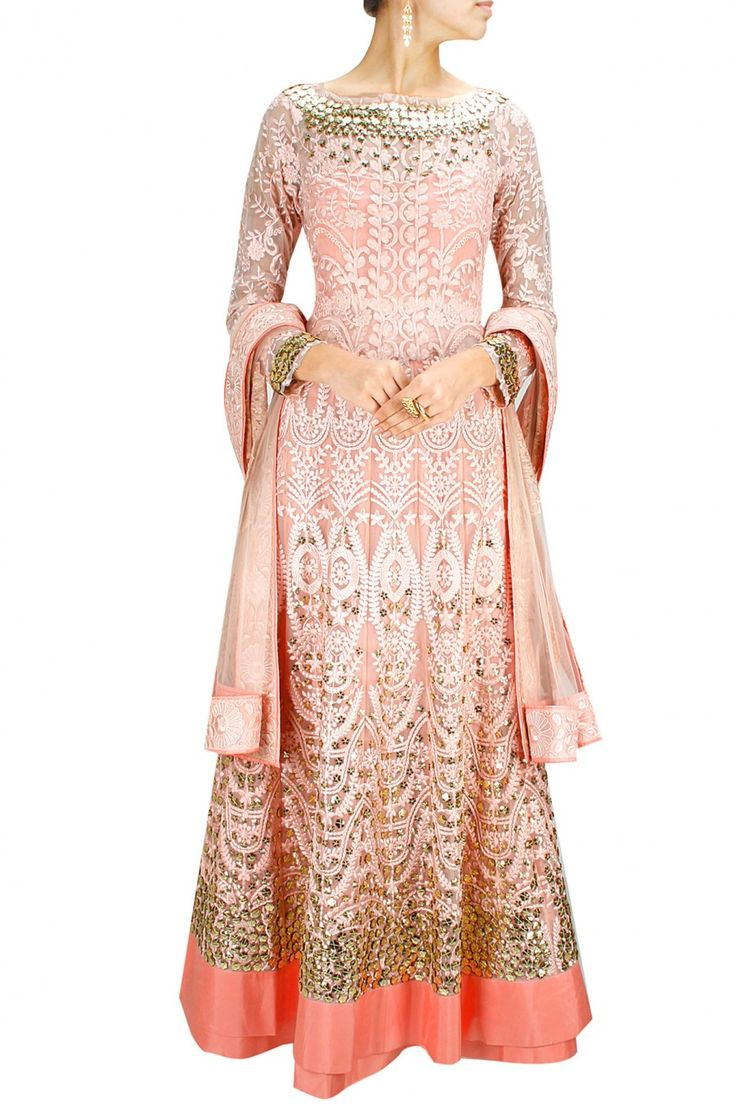 GET FLOORED : Shell pink tone-on-tone embroidered anarkali with matching dupatta. By Jade. Shop now at www.perniaspopupshop.com #jade #perniaspopupshop #stunning #designer #newcollection #fashion #festive #style #updates #happyshopping