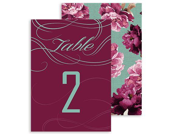 Printable table numbers - Boho Vintage - Swirls and Twirls Floral wedding reception - Burgundy, Marsala and Mint - 5x7   Swirls and Floral by NicyaPrintables on Etsy