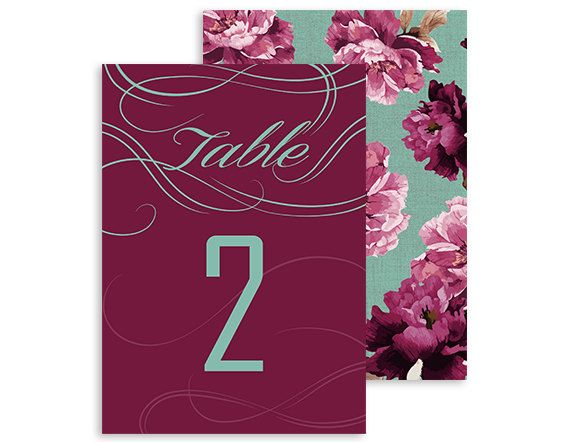 Printable table numbers - Boho Vintage - Swirls and Twirls Floral wedding reception - Burgundy, Marsala and Mint - 5x7 | Swirls and Floral by NicyaPrintables on Etsy