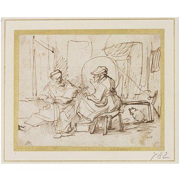 Drawing | Rembrandt van Rijn | V Search the Collections. Old man (perhapd Tobit) reading to a seated woman, who appears to listen very attentively, with one of her feet raised on a stool; her cat is seen behind; Drawn with the pen in sepia, on paper.