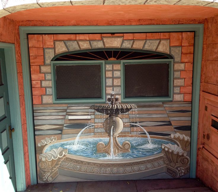 Fountain Scene Garage Door