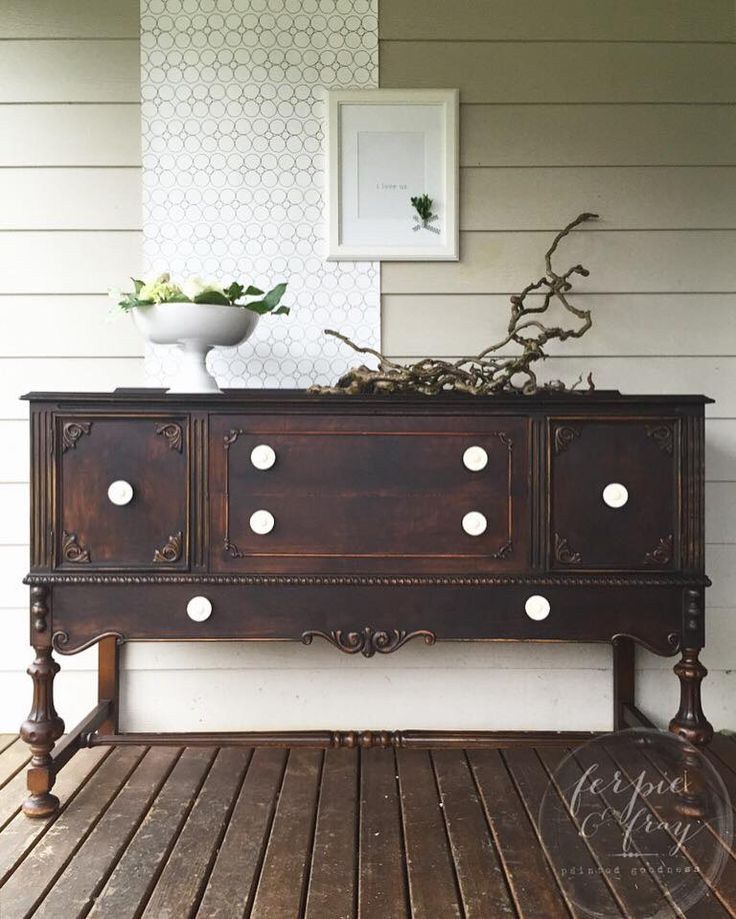 This stunning showstopper was revitalized by Ferpie and Fray using General Finishes Lamp Black Milk Paint!