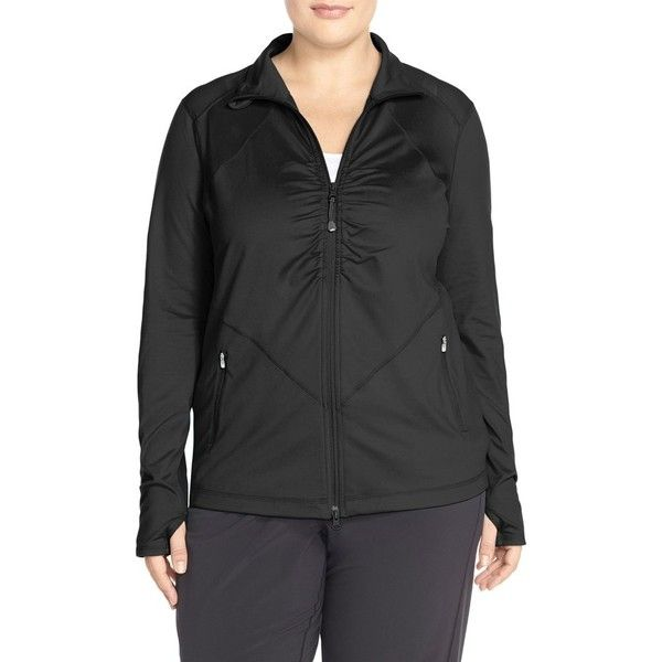 Plus Size Women's Zella 'Grace' Jacket ($50) ❤ liked on Polyvore featuring plus size women's fashion, plus size clothing, plus size activewear, plus size activewear jackets, black, plus size, plus size sportswear, womens plus size activewear, zella sportswear and zella activewear