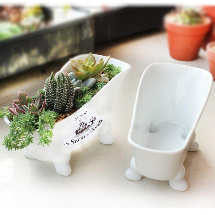 Japanese imitation enamel do the old tub-shaped ceramic flower pot For planting succulent $10.99