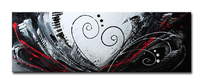 Passievol schilderij in zwart, wit en rood. Prachtig in bijvoorbeeld een strakke moderne slaapkamer.