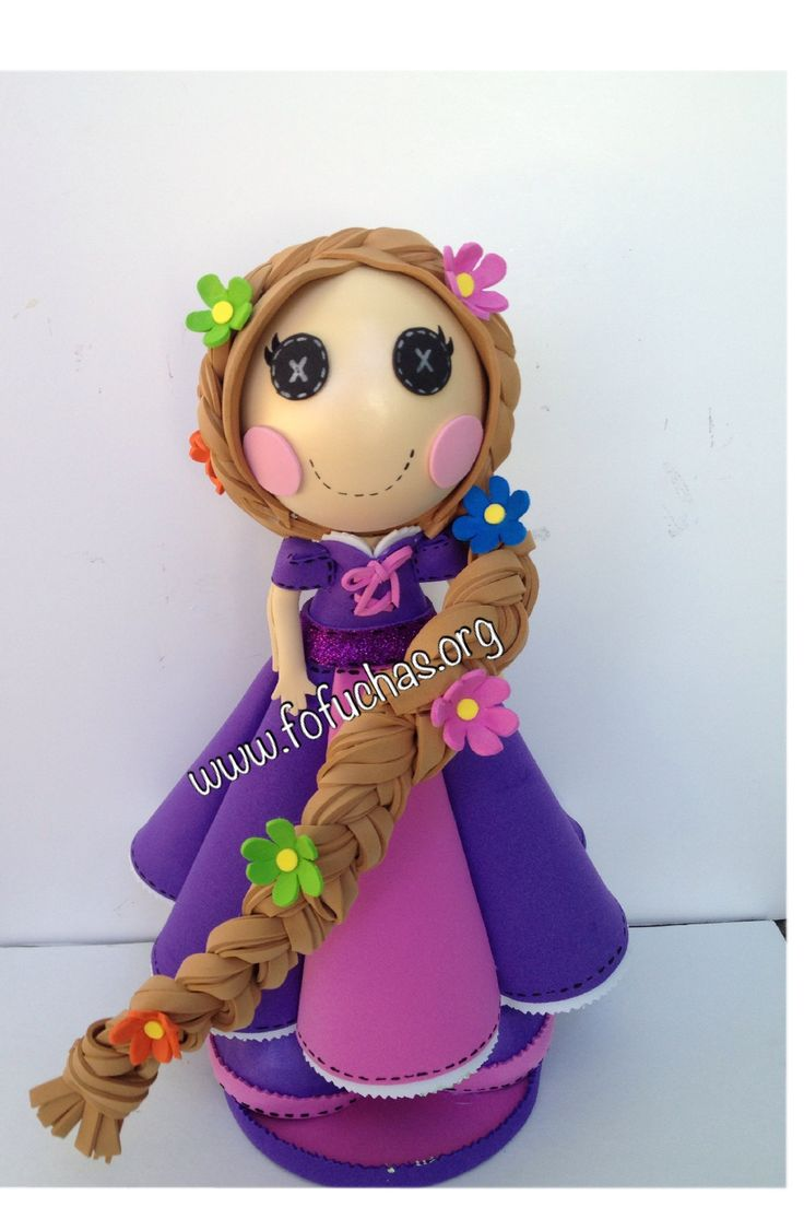This custom fofucha doll in a combination of Princess Rapunzel and a Lalaloopsy doll. She is handmade using foam sheets. Stands at 13 inches tall. Face is handpainted. To purchase visit www.fofuchas.org www.facebook.com/fofuchashandmadedolls  #PrincessRapunzel #Fofuchas #Lalaloopsy