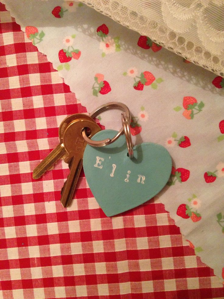 Personalised Wooden Keyring heart Hand crafted / handmade with Annie Sloan Chalk Paint by JoBachsLittleGems on Etsy