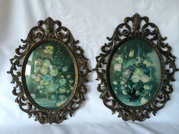 Brass Oval Frames Made In Italy Vintage Floral Prints
