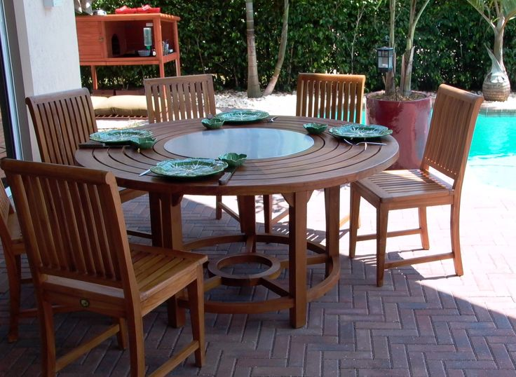 These hot summer days are perfect for a little poolside grilling. This custom built teak table with a round Cook-N-Dine Teppanyaki does the trick in style. Happy Saturday!
