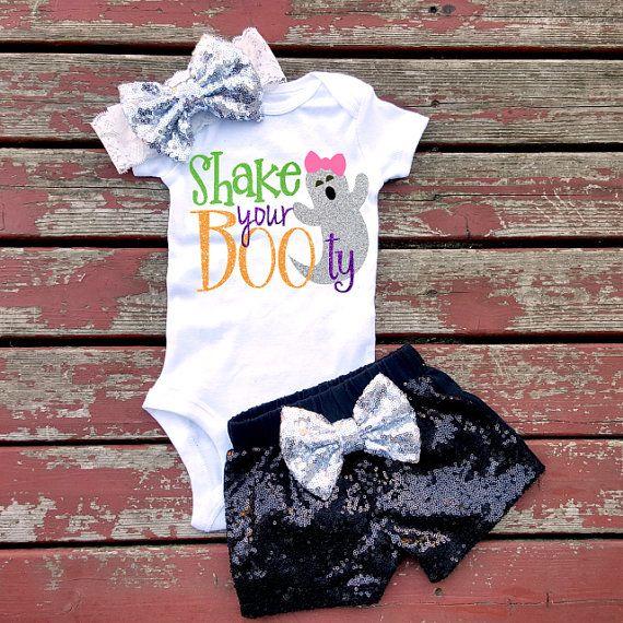 Shake Your BOOty Halloween Bodysuit, Baby Girls, Girls, Toddler, Glitter, Sparkle, Fall, Halloween, Thanksgiving, Pumpkin, Pumpkin Spice