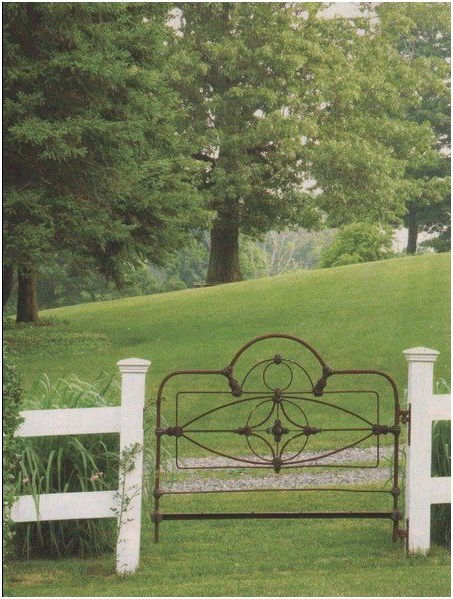 "I love iron beds and so often, you're able to find a headboard, but not the entire bed. Isn't this the best garden gate imaginable? My husband is a fence contractor and we're putting up split rail fence soon . . . I've just got to find a ""gate!"""