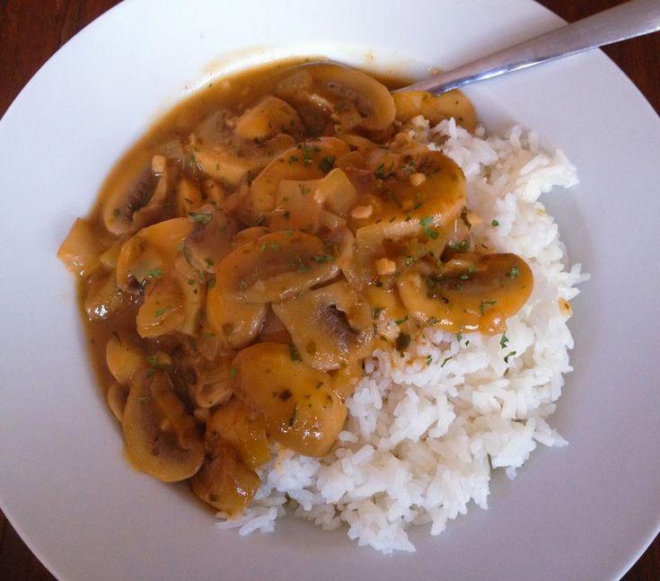 Zelfgemaakte champignonragout. Heerlijk bij rijst.