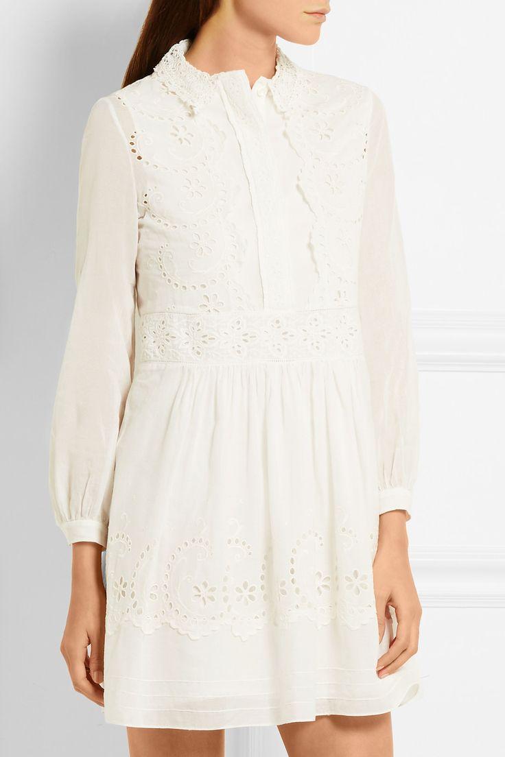 Saint Laurent | Prairie broderie anglaise cotton mini dress | NET-A-PORTER.COM