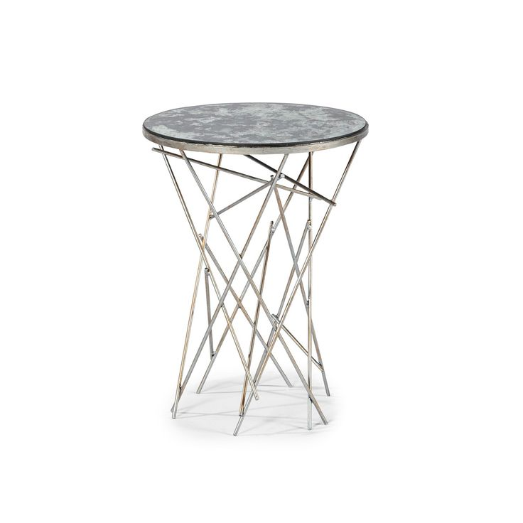 A cacophony of brushed silver and gold rods and a luxurious antiqued mirror surface create the dynamic Dobson Side Table, providing a remarkable aesthetic.