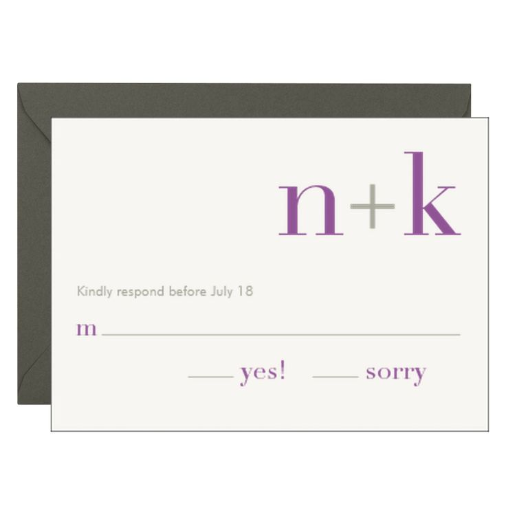 Initials Wedding Response Card Nathan u0026