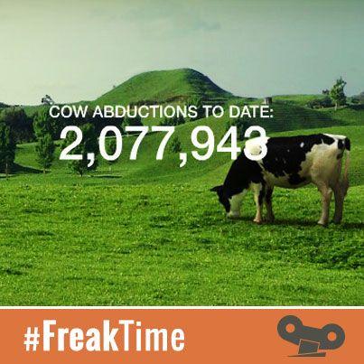"""¡¡Estrenamos sección!! #FreakTime  Y lo hacemos con la asombrosa historia de la desaparición de vacas en todas las granjas del mundo. Al grito de """"ALIENS, LEAVE OUR COWS ALONE!"""" se persigue el tormento de las abducciones de vacas... http://www.cowabduction.com/"""