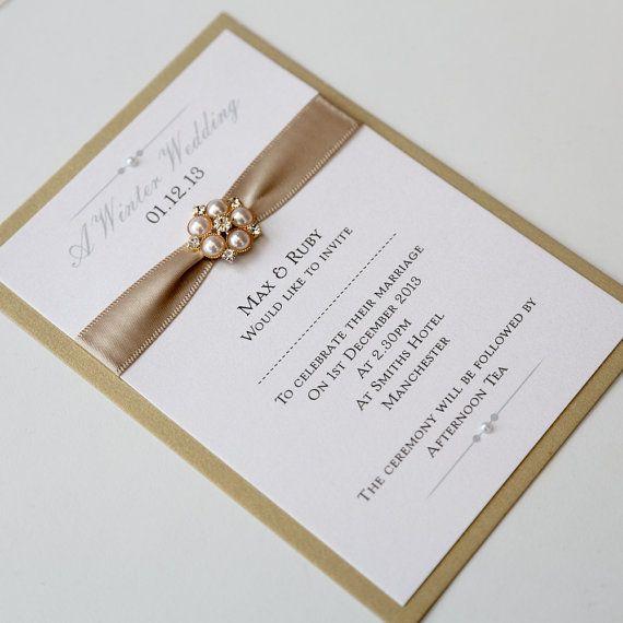 Gold & Ivory Flat Wedding Invitation with by AngelfinsStationery