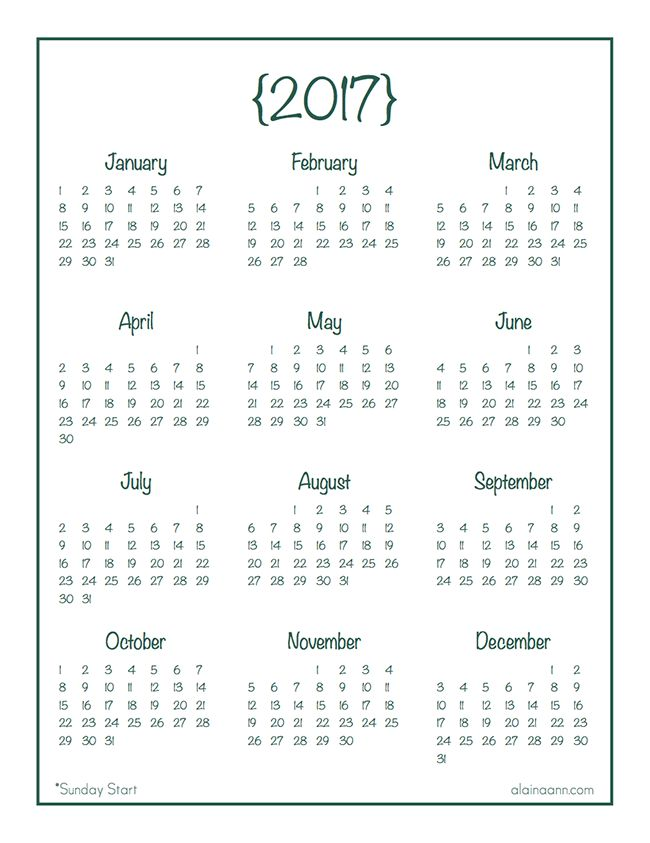 2017 Year-at-a-Glance Calendar {Free Printable} :: Alaina Ann