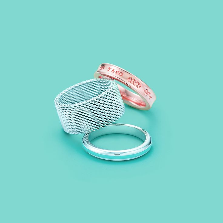 Tiffany rings, from top: Tiffany 1837™ in RUBEDO® metal, Tiffany Somerset™ in sterling silver, and band in sterling silver with Tiffany Blue® enamel finish. #TiffanyPinterest
