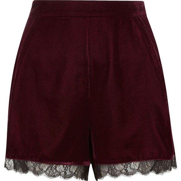 River Island Burgundy velvet lace hem cocktail shorts (€53) ❤ liked on Polyvore featuring shorts, smart shorts, women, evening shorts, fitted shorts, burgundy shorts, tall shorts and lacy shorts