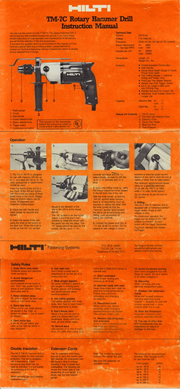 Hilti Hammer Drill manual (front) from 1981.