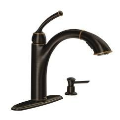 Mediterranean bronze one-handle pullout kitchen faucet
