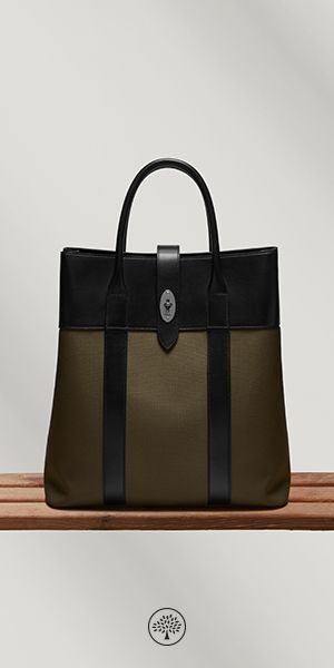 Shop the Reston Tote in Khaki Nylon & Black Leather at Mulberry.com. A perfect blend of classic and contemporary, the Reston Backpack features the iconic postman's lock on a modern design. A suede-lined flap opens up to one main compartment with a handy slip pocket to store a phone. Two front zip pockets provide easy and quick access to essentials. Use the two press studs to adjust the volume and shape of the bag.