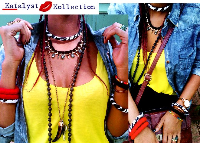 Zebra-print choke necklace and matching bangles; red and black felt bangles- All available from our online store www.katalystkollection.co.za